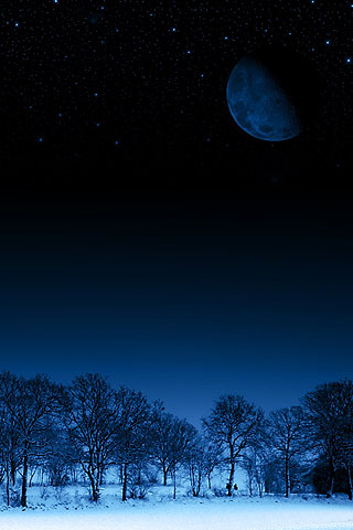 iphone dark winter night with big moon free wallpaper